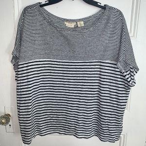 Christian Siriano 100% Linen Black & White T Shirt